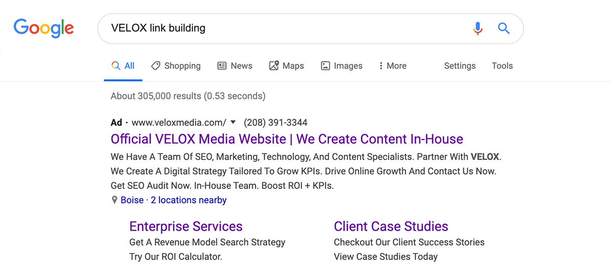 Branded-Plus Keyword example