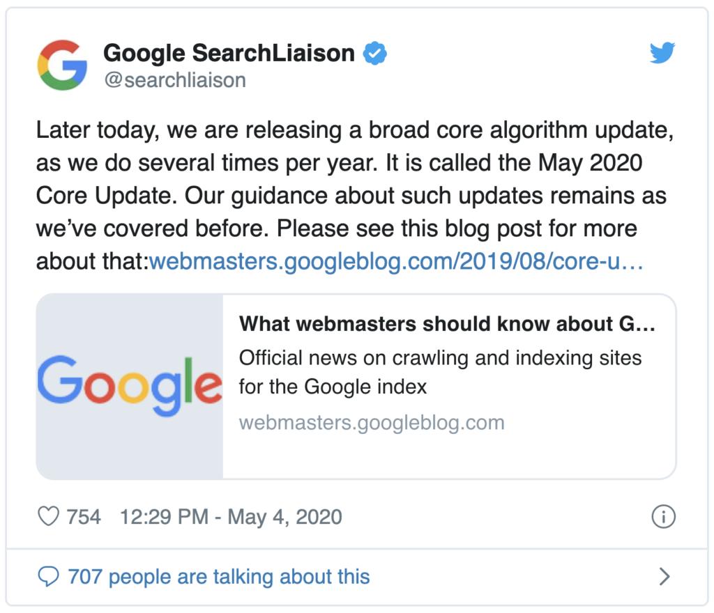 Tweet of the May 2020 Core Update